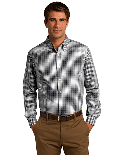 Port Authority S654 Men Long Sleeve Gingham Easy Care Shirt Black/Charcoal at GotApparel