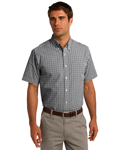 Port Authority S655 Men Short Sleeve Gingham Easy Care Shirt Black/Charcoal at GotApparel