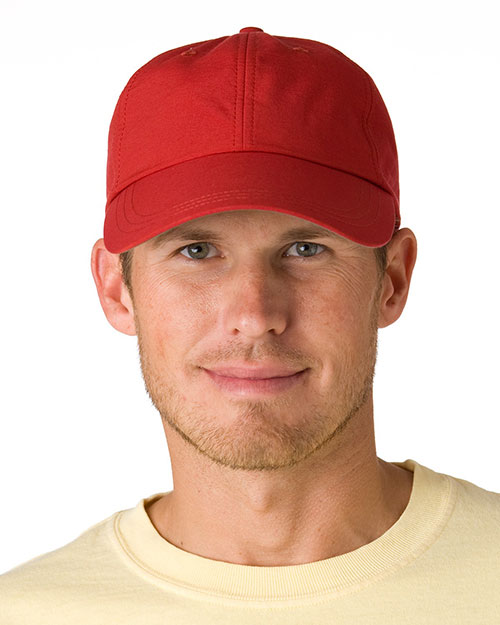 Adams SH101 6-Panel UV Low-Profile Cap with Elongated Bill Nautical Red at GotApparel