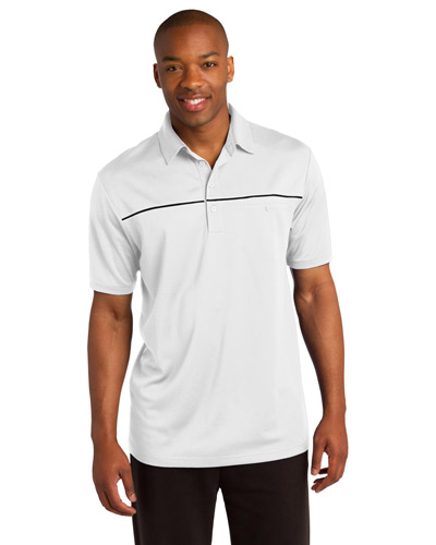 Sport-Tek ST686 Men PosiCharge   MicroMesh Piped Polo White/Black at GotApparel