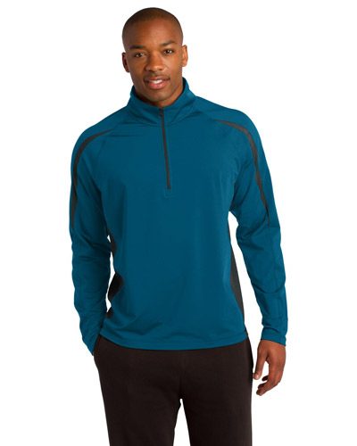Sport-Tek ST851 Men SportWick   Stretch 1/2Zip Colorblock Pullover Peacock Bl/Cha at GotApparel
