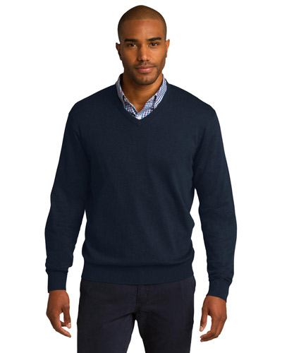 Port Authority SW285 Men VNeck Sweater Navy at GotApparel