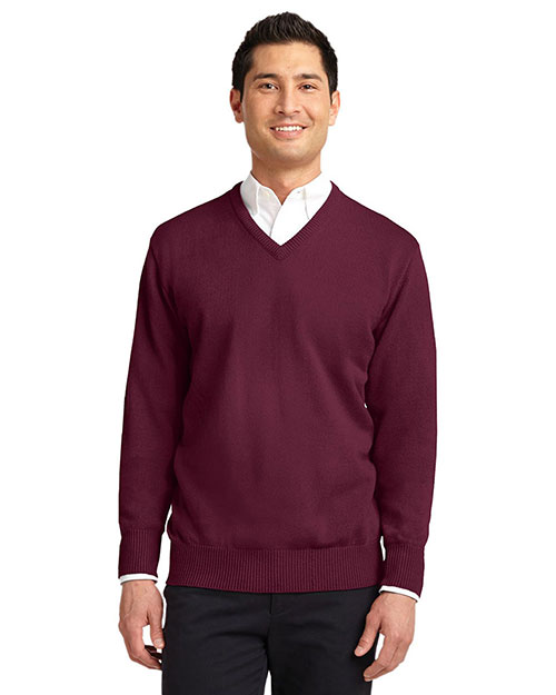 Port Authority SW300 Men Value V-Neck Sweater Burgundy at GotApparel