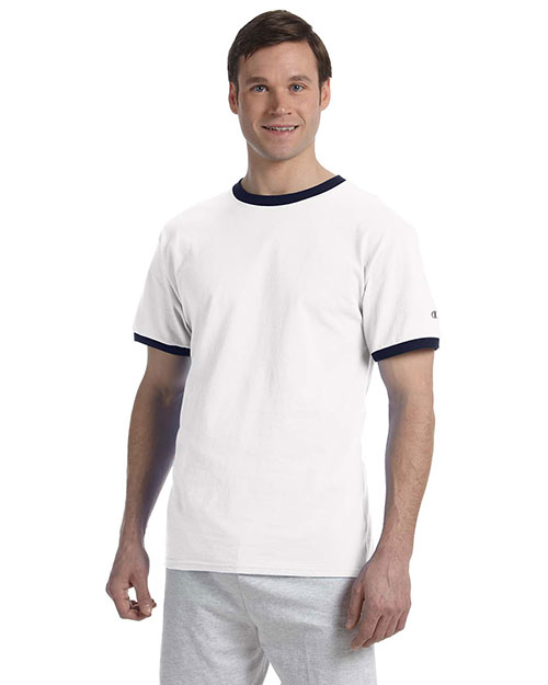 Champion T1396 Men 5.2 oz. Ringer TShirt White/Navy at GotApparel