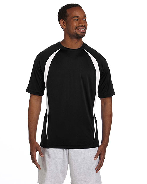Champion T2052 Men Double Dry 4.1 oz. Elevation TShirt Black/White at GotApparel