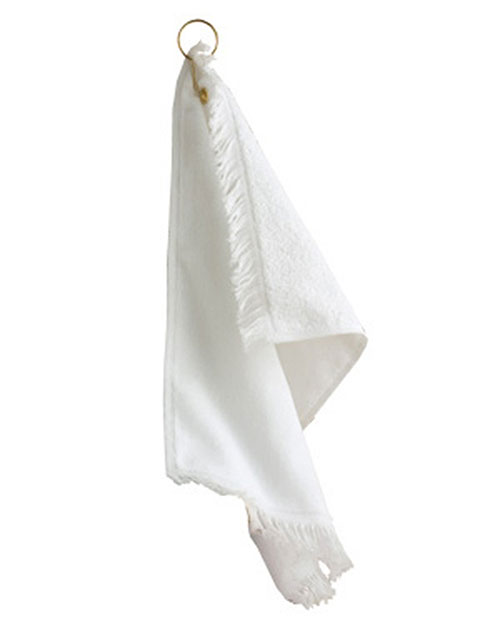 Anvil T60GH  Unisex Fringed Fingertip Towel With Corner Grommet and Hook White at GotApparel