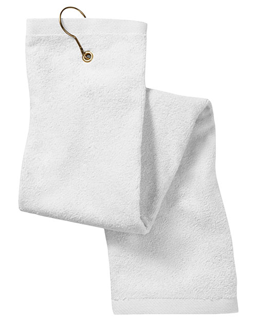 Anvil T68TH  Unisex Deluxe TriFold Hemmed Hand Towel With Center Grommet and Hook White at GotApparel