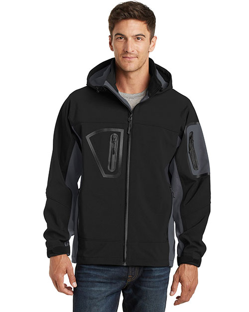 Port Authority TLJ798 Men Tall Waterproof Soft Shell Jacket Black/Graphite at GotApparel