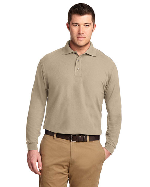 Port Authority TLK500LS Men Tall Silk Touch™ Long Sleeve Polo Stone at GotApparel