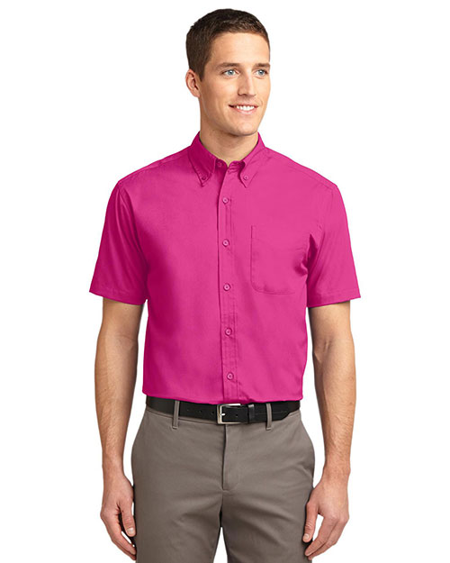 Port Authority TLS508 Men Tall Short Sleeve Easy Care Shirt Tropical Pink at GotApparel