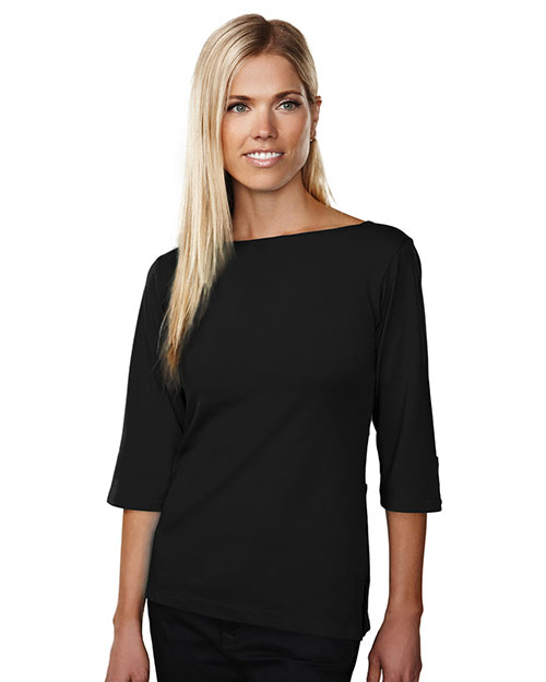 Tri-Mountain 139 Women Cypress 3/4 Sleeve Boat Neck Knit Shirt Black at GotApparel