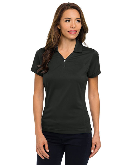 Tri-Mountain 156 Women Vision Ultracool Pique Y-Neck Short Sleeve Golf Shirt Black at GotApparel