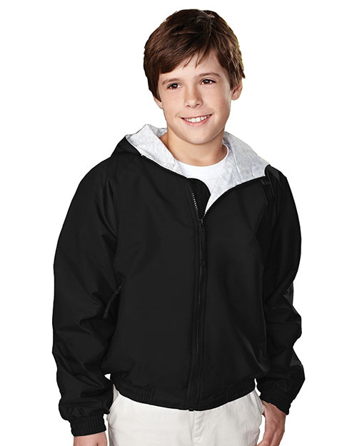 Tri-Mountain 3500 Boys Bay Watch Nylon Hooded Jacket With Jersey Lining Black at GotApparel