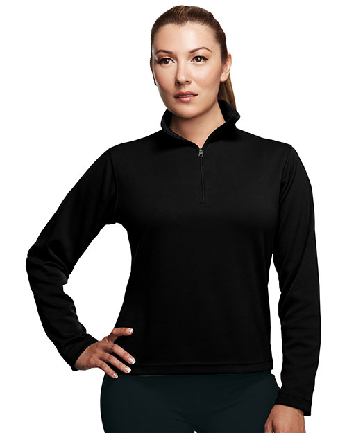 Tri-Mountain 652 Women Mission Poly Ultracool Pique 1/4 Zip Pullover Shirt Black at GotApparel