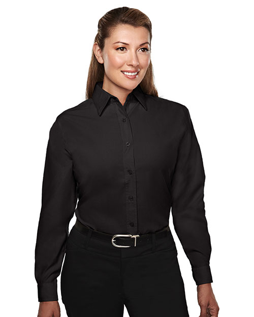 Tri-Mountain 852 Women Metro Long Sleeve Shirt With Mini Houndstooth Pattern Black at GotApparel