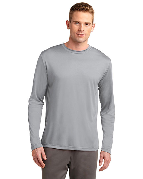 Sport-Tek TST350LS Men Tall Long Sleeve PosiCharge™ Competitor™ Tee Silver at GotApparel