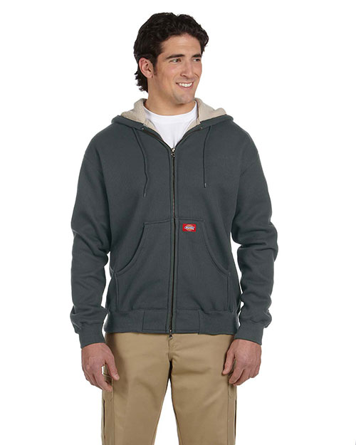 Dickies TW385 Men's 10.75 oz. Bonded Waffle-Knit Hooded Jacket Charcoal at GotApparel