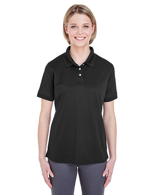 UltraClub 8315L Women Platinum Performance Pique Polo with TempControl Technology Black at GotApparel