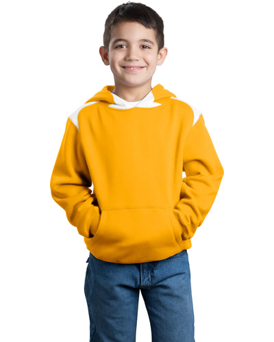 Sport-Tek Y264 Boys Pullover Hooded Sweatshirt with Contrast Color Athletic Gold at GotApparel