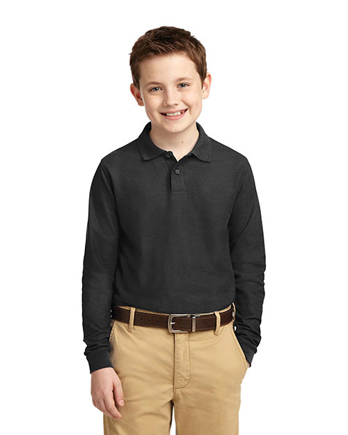 Port Authority Y500LS Boys Long Sleeve Silk Touch™ Polo Black at GotApparel
