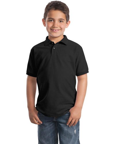 Port Authority Y500 Boys Silk Touch™ Polo Black at GotApparel