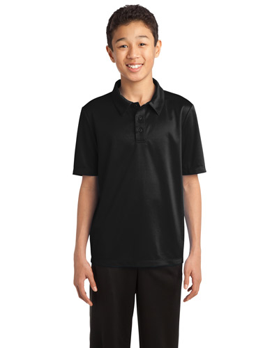 Port Authority Y540 Boys Silk Touch™ Performance Polo Black at GotApparel