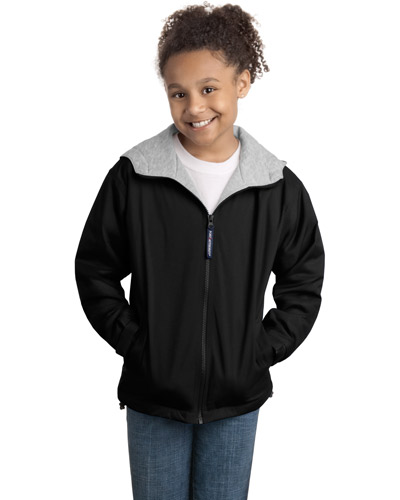 Port Authority YJP56 Girls Team Jacket Black/Light Oxford at GotApparel