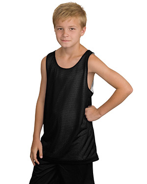 Sport-Tek YT500    Youth Reversible Mesh Tank.  Black at GotApparel