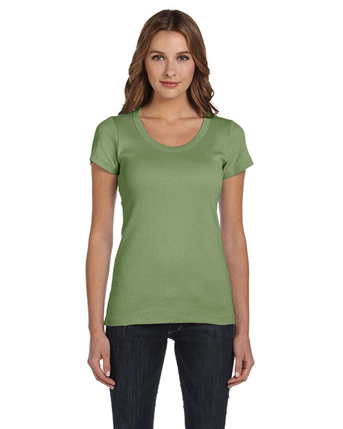 Bella + Canvas B1003 Women Stretch Rib Short-Sleeve Scoop Neck T-Shirt at GotApparel