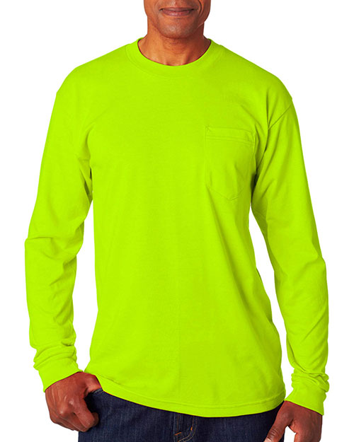 Bayside 1730 Men Long Sleeve Tee with Pocket at GotApparel
