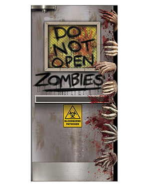 Halloween Costumes BG00037 Unisex Zombies Lab Door Cover at GotApparel
