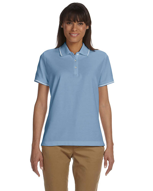 Devon & Jones Blue D113W Women Pima Pique Short-Sleeve Tipped Polo at GotApparel