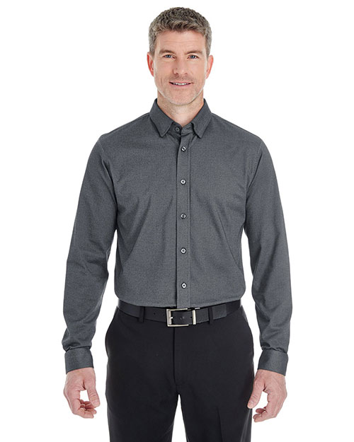 Devon & Jones Classic DG230 Men Central Cotton Blend Melange Button Down at GotApparel
