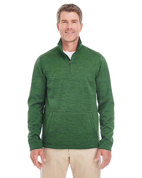 Devon & Jones Classic DG798 Men Newbury Melange Fleece Quarter-Zip at GotApparel