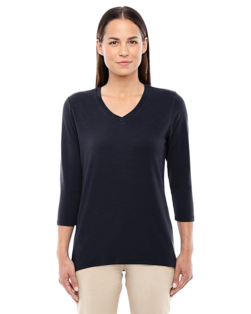 Devon & Jones Classic DP184W Women Perfect Fit  Bracelet Length V-Neck Top at GotApparel