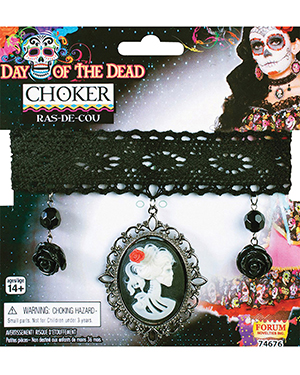 Halloween Costumes FM74676 Women Morris  Day Of Dead Choker at GotApparel