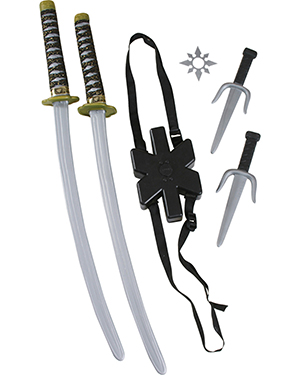 Halloween Costumes FW8276 Unisex Morris  Ninja Double Sword Set at GotApparel