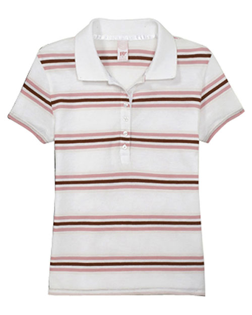 Hyp Sportswear HY123 Women's Newport Sheer Polo In Solid Or Stripe White/Multi at GotApparel