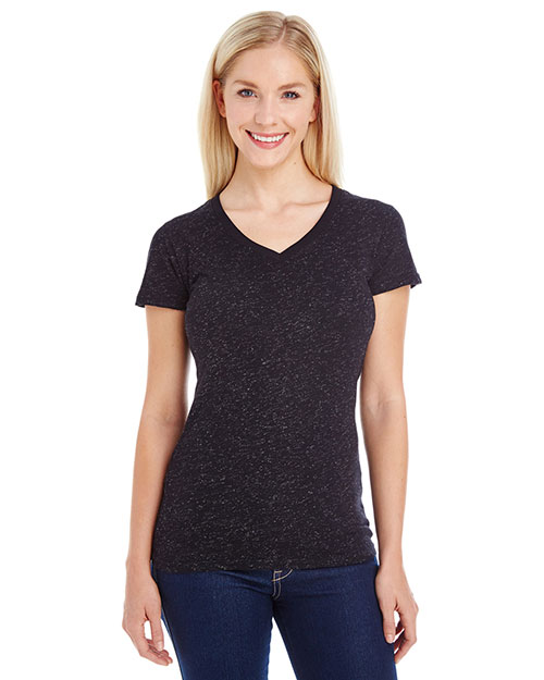 J America JA8136 Women Glitter V-Neck T-Shirt at GotApparel