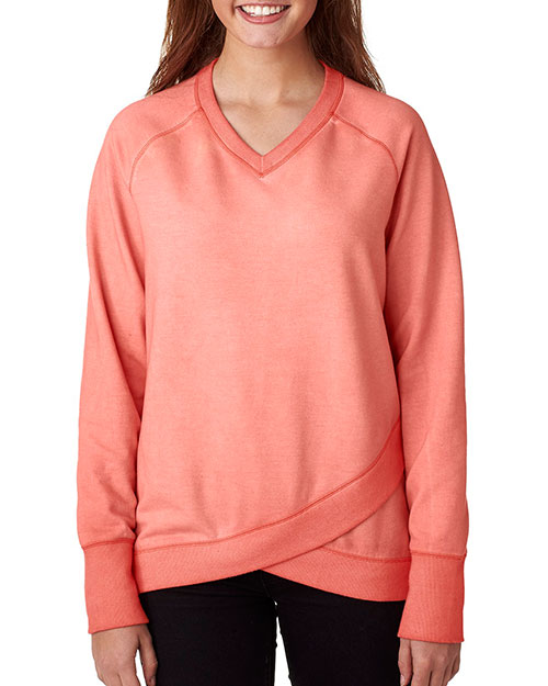 J America J8666 Women Oasis Wash Crisscross V-Neck Fleece at GotApparel