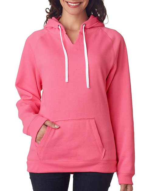 J America J8836 Women Brushed V-Neck Hooded Fleece at GotApparel