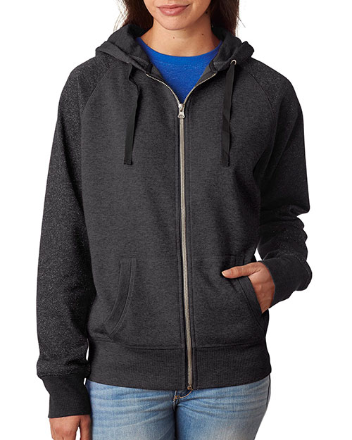 J America J8868 Women Glitter French Terry Contrast Full-Zip Hooded Fleece at GotApparel
