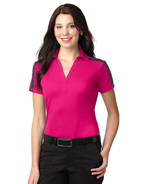 Port Authority L547 Women Silk Touch Performance Colorblock Stripe Polo at GotApparel