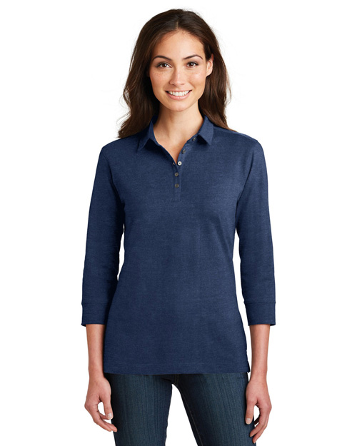 Port Authority L578  ®  Ladies 3/4-Sleeve Meridian Cotton Blend Polo. at GotApparel