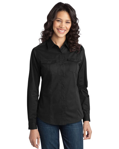 Port Authority L649 Women Stain-Resistant Roll Sleeve Twill Shirt at GotApparel