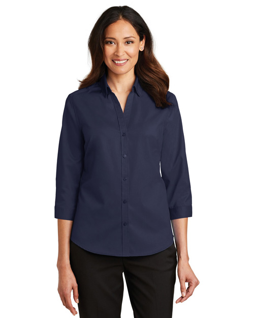 Port Authority L665  ®  Ladies 3/4-Sleeve Superpro ™  Twill Shirt. at GotApparel