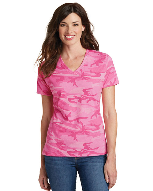 Port & Company LPC54VC Women  5.4oz 100% Cotton V-Neck Camo Tee at GotApparel