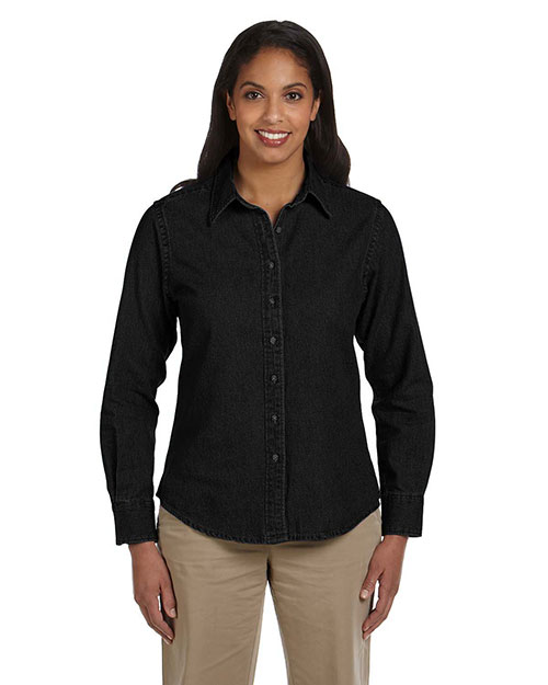 Harriton M550W Women 6.5 Oz. Long-Sleeve Denim Shirt at GotApparel
