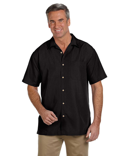 Harriton M560 Men Barbados Textured Camp Shirt Black at GotApparel