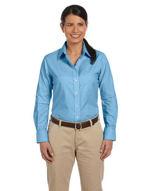 Harriton M600W Women LongSleeve Oxford with Stain Release at GotApparel